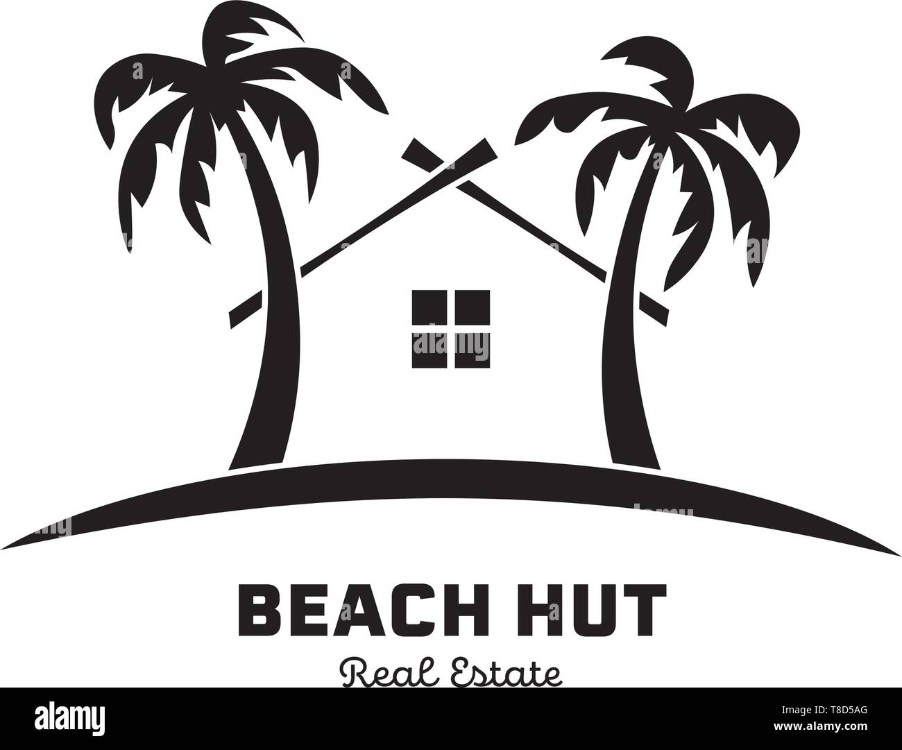 Real Estate logo template with house between palm trees vector illustration - Stock Vector