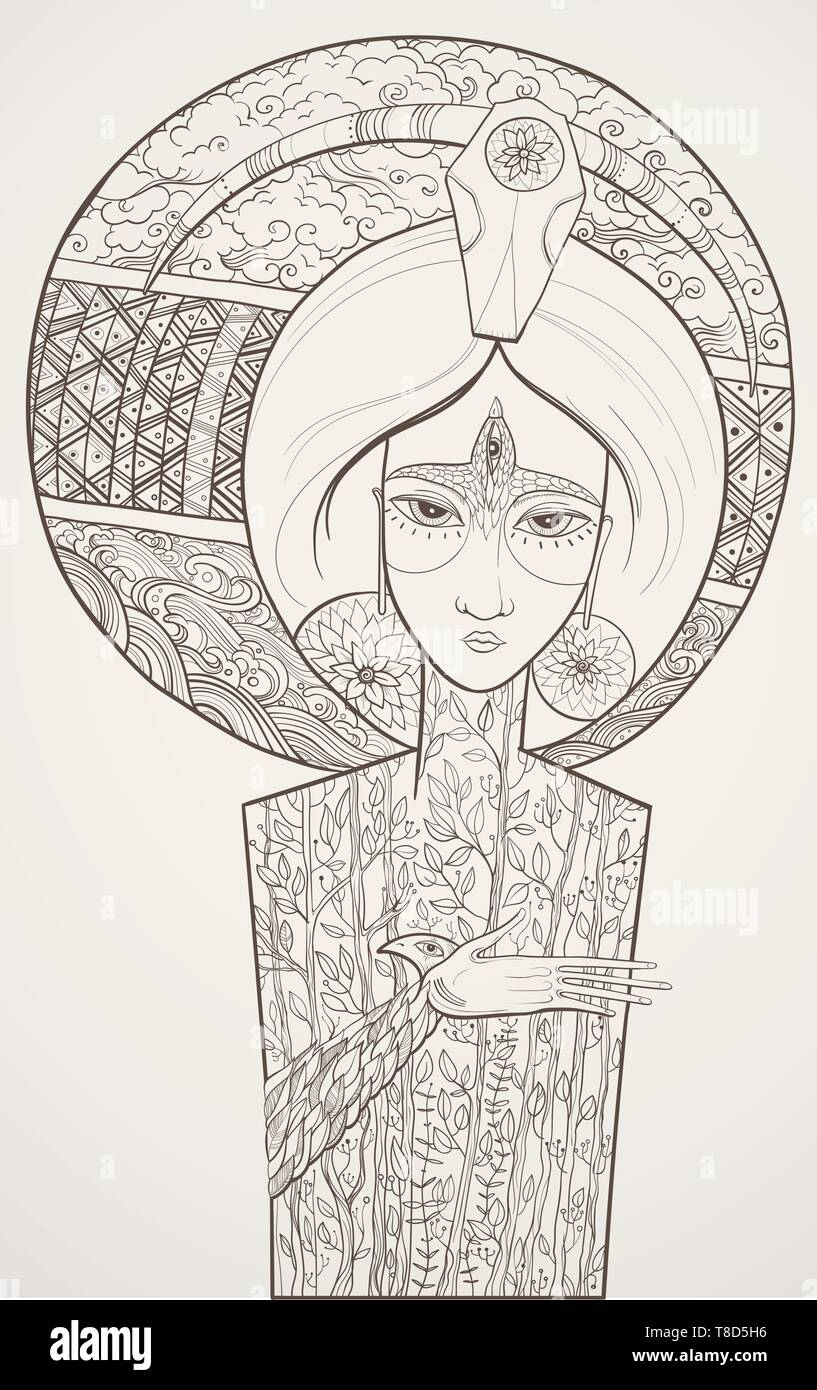Vector contour illustration of Mother Nature with trees, clouds and water waves. Goddess of Life and Death. Protect of environment. eps 10 - Stock Image