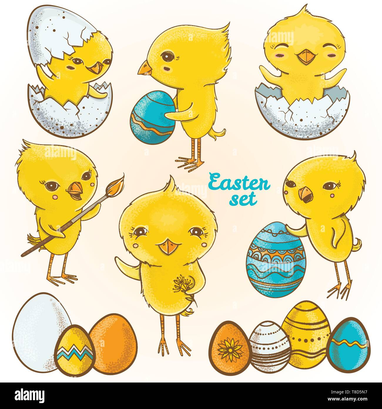 3be158f1fd6e Vector set with illustrations of cute spring chickens cartoon characters.  Happy easter set. Easter