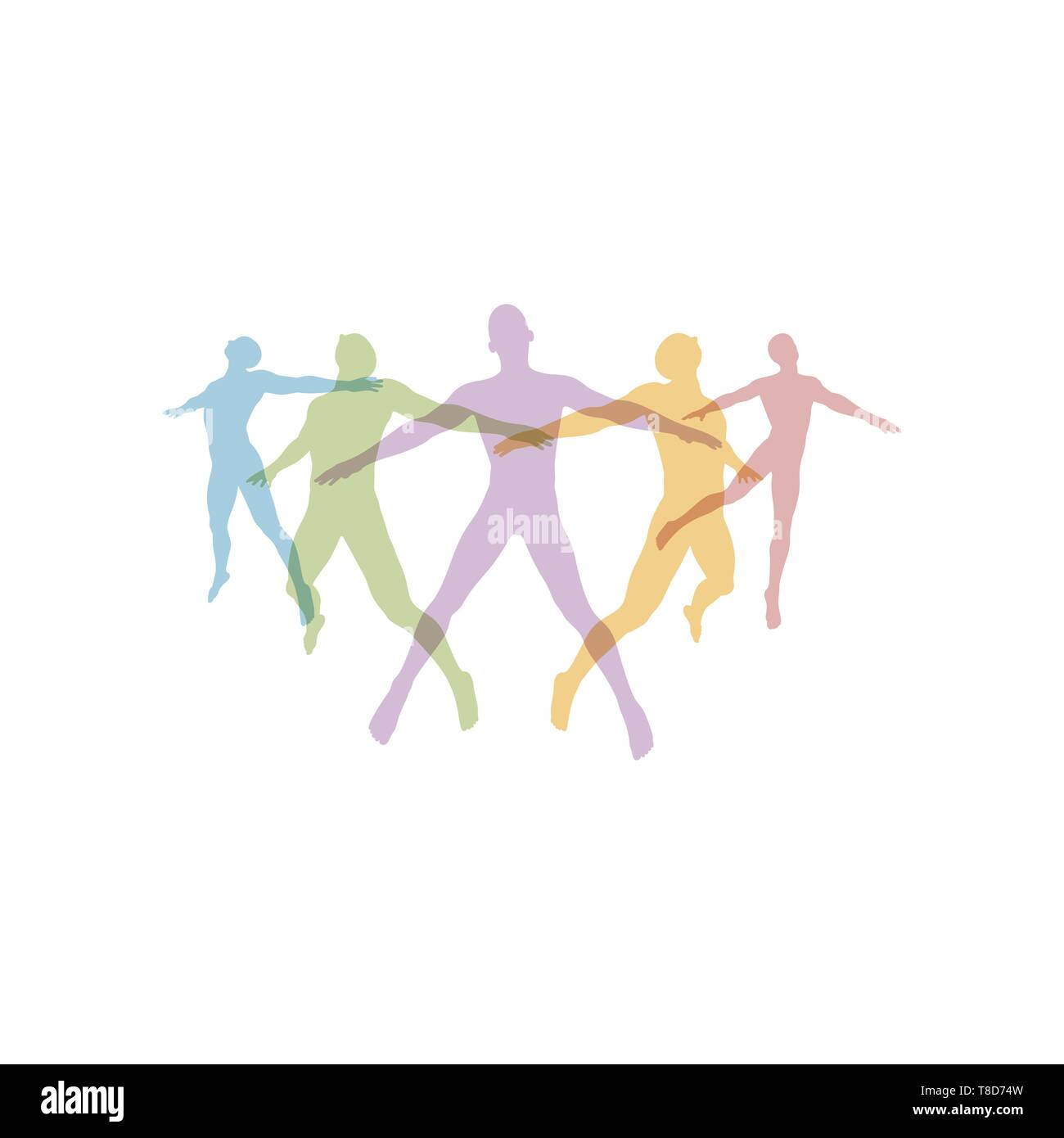 Team concept. Crowd of people icon silhouettes vector. Social icon. People Connecting. Vector illustration. - Stock Vector