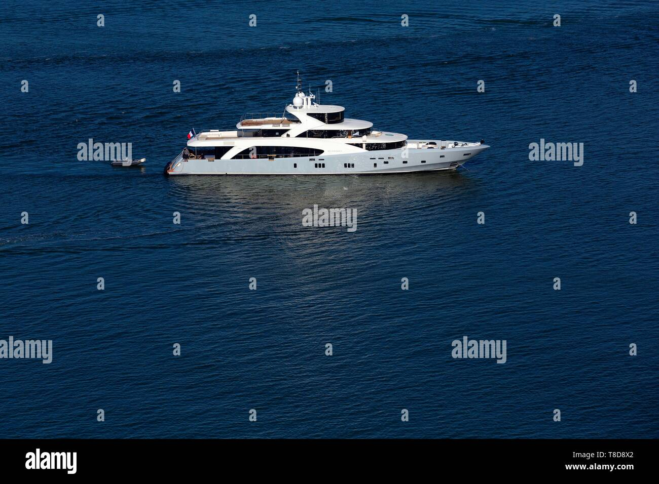 France, Gironde, Bassin d'Arcachon, yacht built by the shipyard Couach de Gujan Mestras (aerial view) - Stock Image
