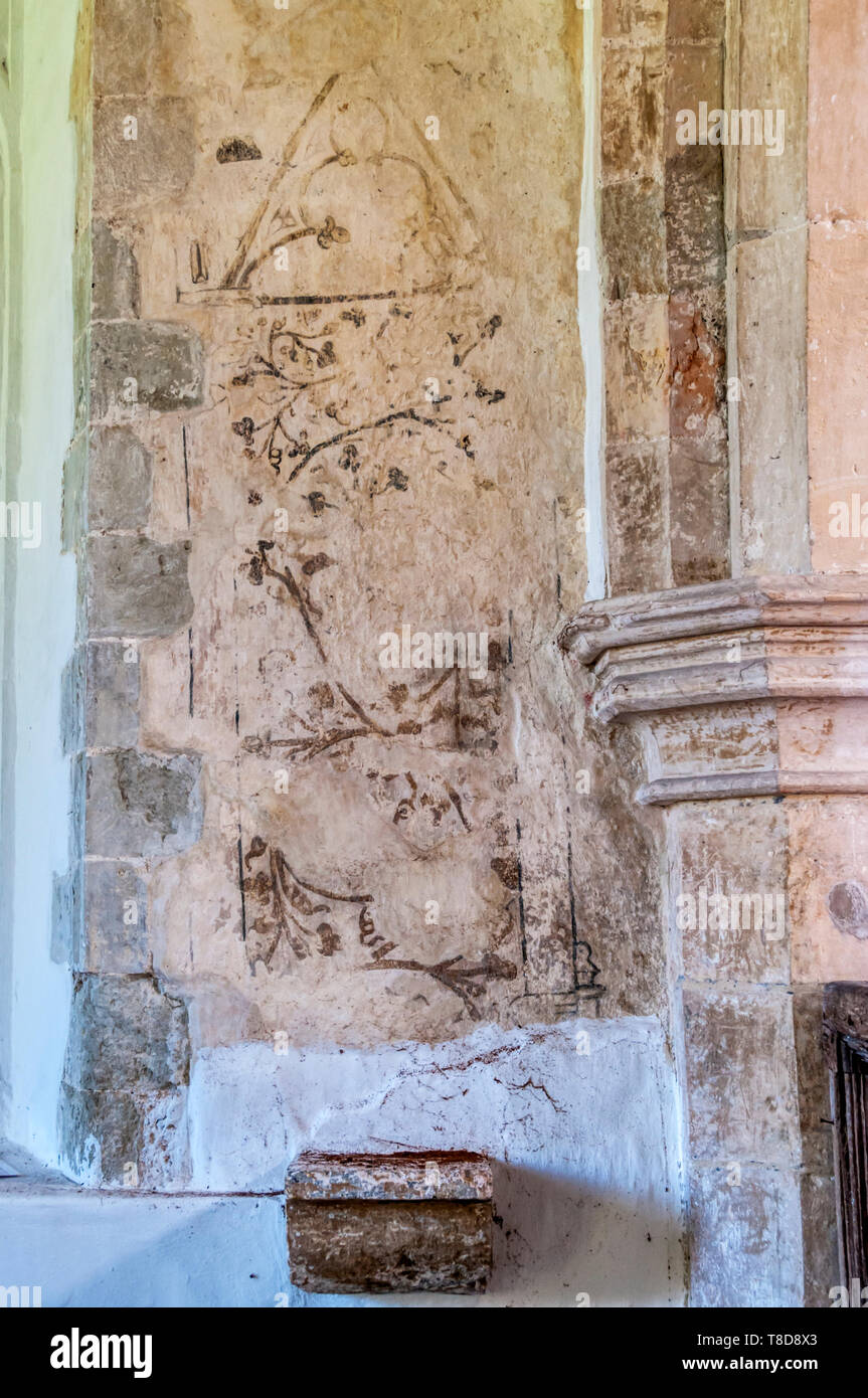 Mediaeval or medieval wall painting in St George's church, Ivychurch on Romney Marsh. - Stock Image