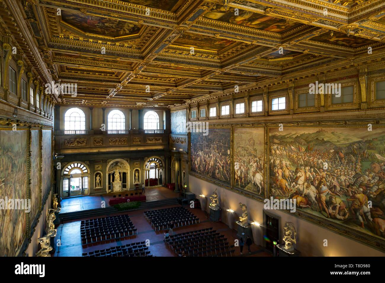 Italy, Tuscany, Florence, historic centre listed as World Heritage by UNESCO, piazza della Signoria, Palazzo Vecchio, Five Hundred Room, Salone dei Cinquecento - Stock Image