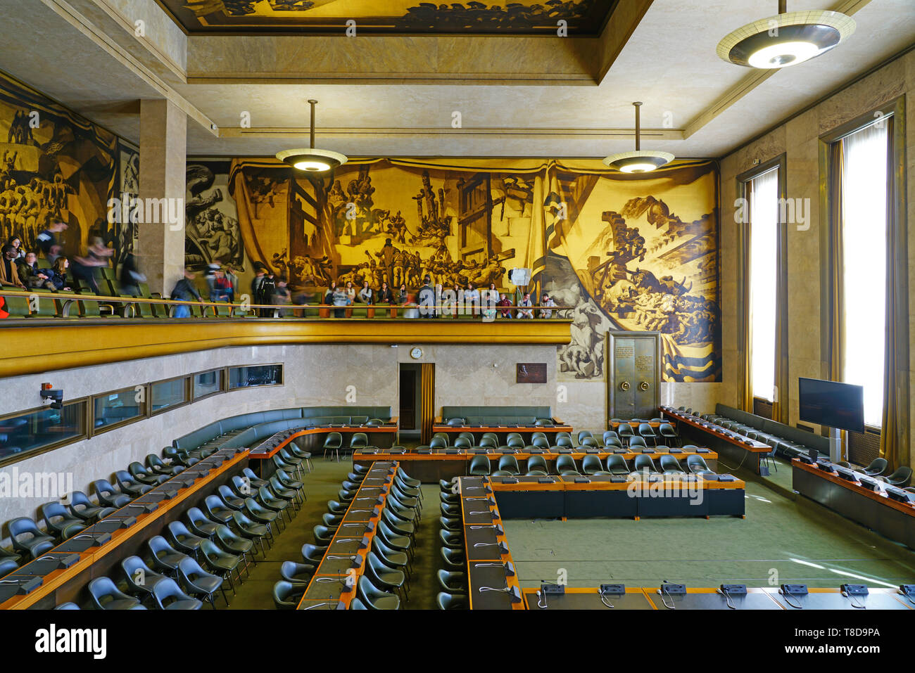 GENEVA, SWITZERLAND -5 APR 2019- Interior view of the United Nations Office at Geneva (UNOG) located in the Palais des Nations building in Geneva, Swi - Stock Image