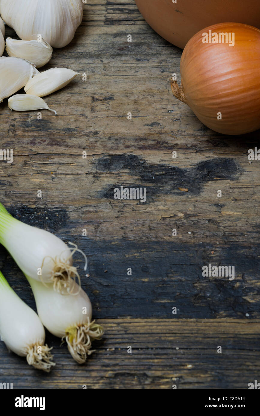 vertical view of vegetable food ingredients like spring onions garlic and brown onions on a rustic wooden table with clay jars close up - Stock Image