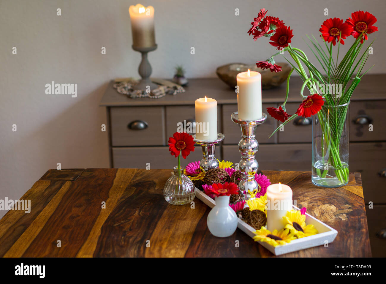 Decoration with candles on a table Stock Photo
