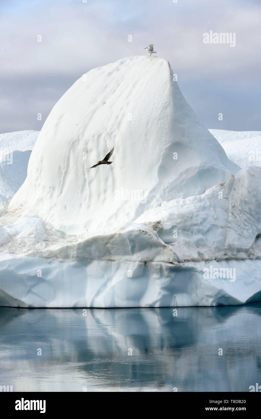 Greenland, west coast, Disko Bay, Ilulissat, icefjord listed as World heritage by UNESCO that is the mouth of the Sermeq Kujalleq Glacier - Stock Image