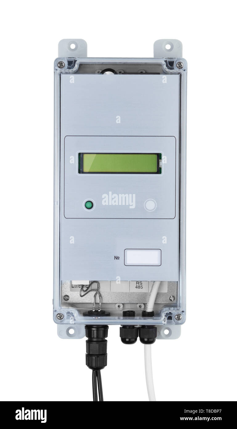 Ultrasonic industrial water meter isolated on white background - Stock Image