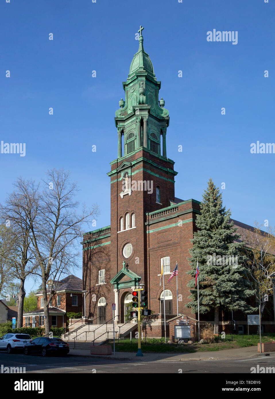 St. Cyril and Methodius Catholic Church in Northeast Minneapolis, Minnesota - The 1917 brick church was designed by Victor Cordella in the Renaissance - Stock Image