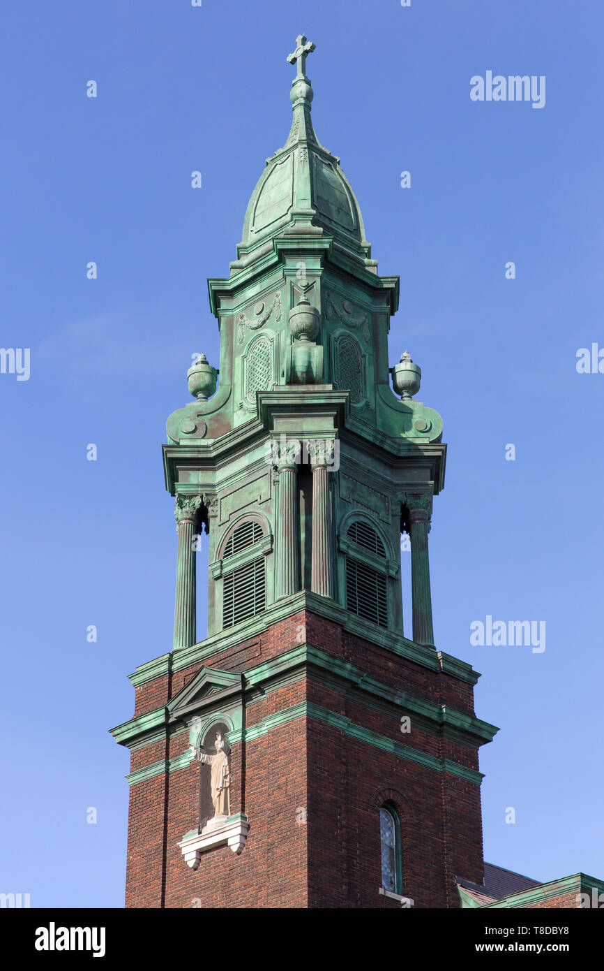 The bell tower of St. Cyril and Methodius Catholic Church in Northeast Minneapolis, Minnesota - The 1917 brick church was designed by Victor Cordella  - Stock Image
