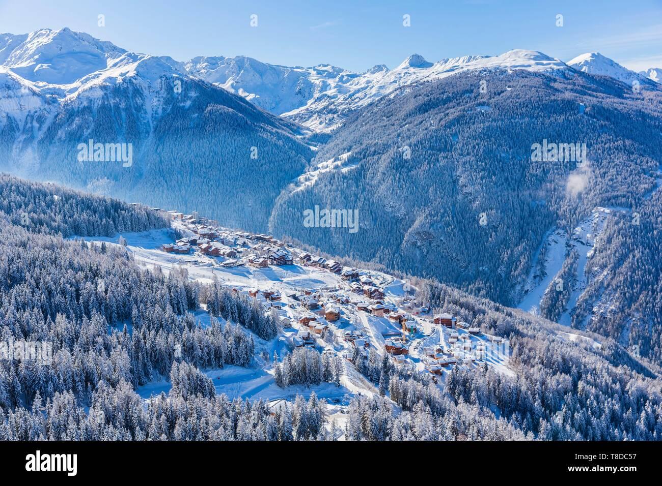 France, Savoie, Vanoise massif, valley of Haute Tarentaise, Peisey-Nancroix, Peisey-Vallandry, part of the Paradiski area, view of the La Plagne ski area, (aerial view) Stock Photo