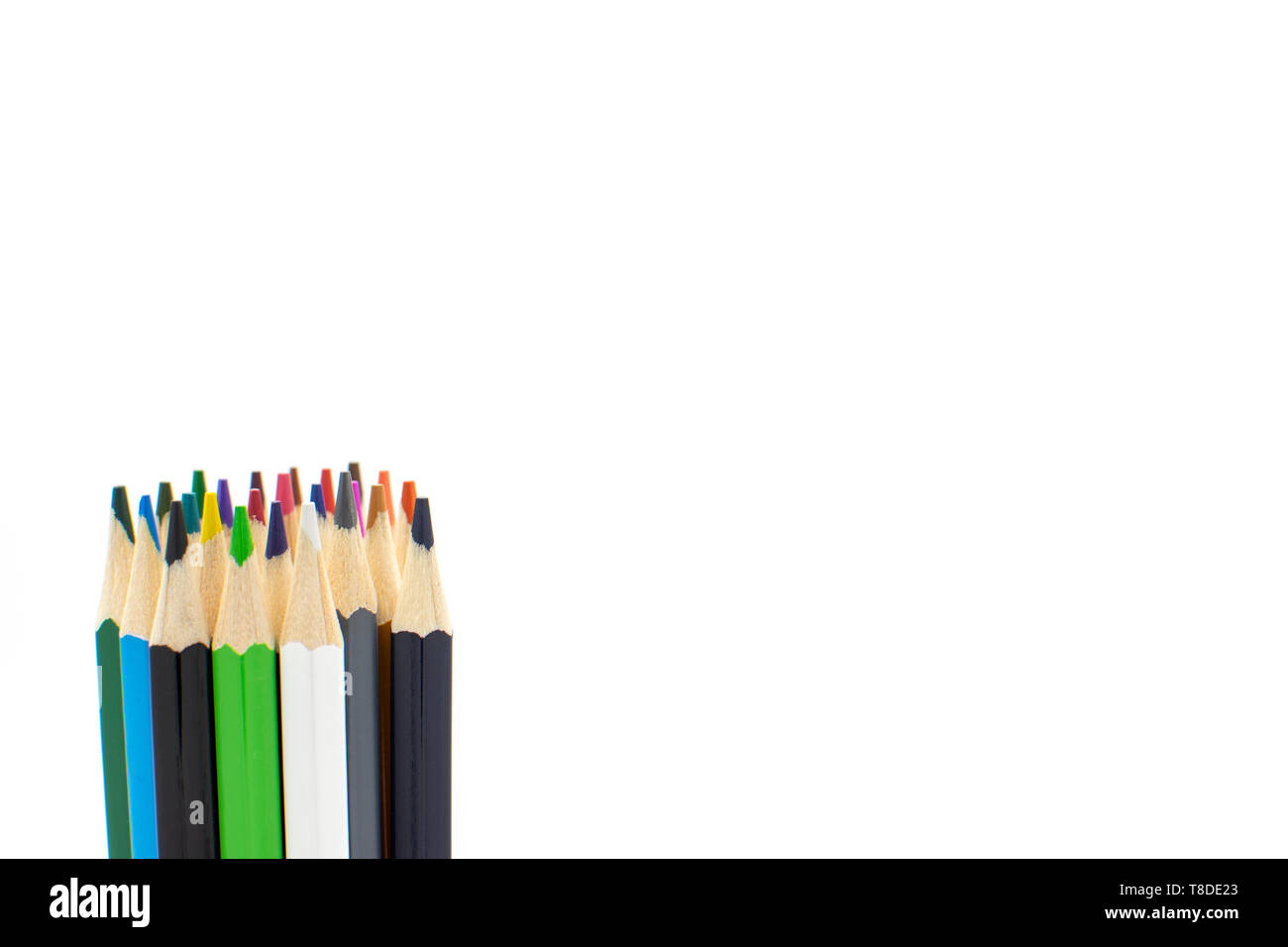 colored pencils on white background.back to school. start the studies. children and drawings. Rainbow colors. gay flag Stock Photo