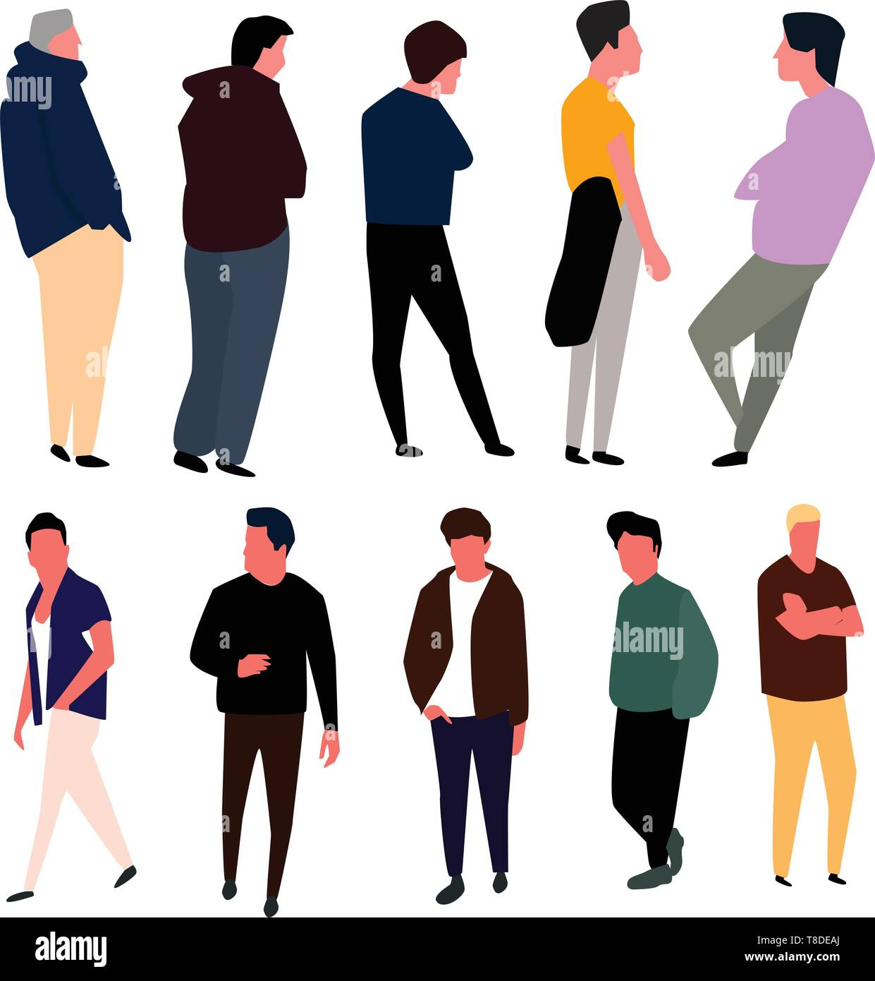 Cartoon Male Characters Men In Fashion Clothes Vector Stock Vector Image Art Alamy