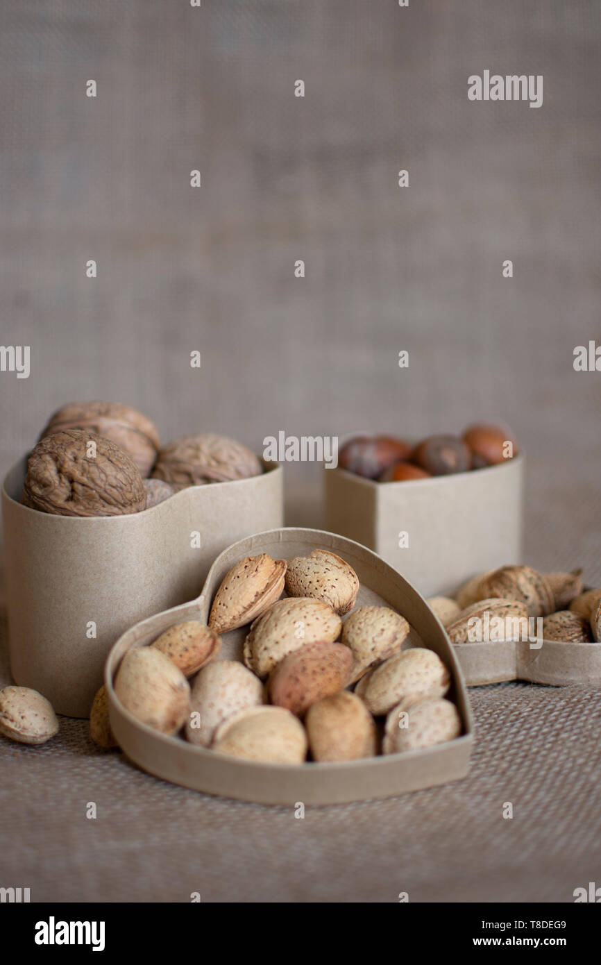 still life photographic background in nuts fabric background. Healthy life. control of cholesterol. diet for summer.preventive medicine.osteoporosis - Stock Image