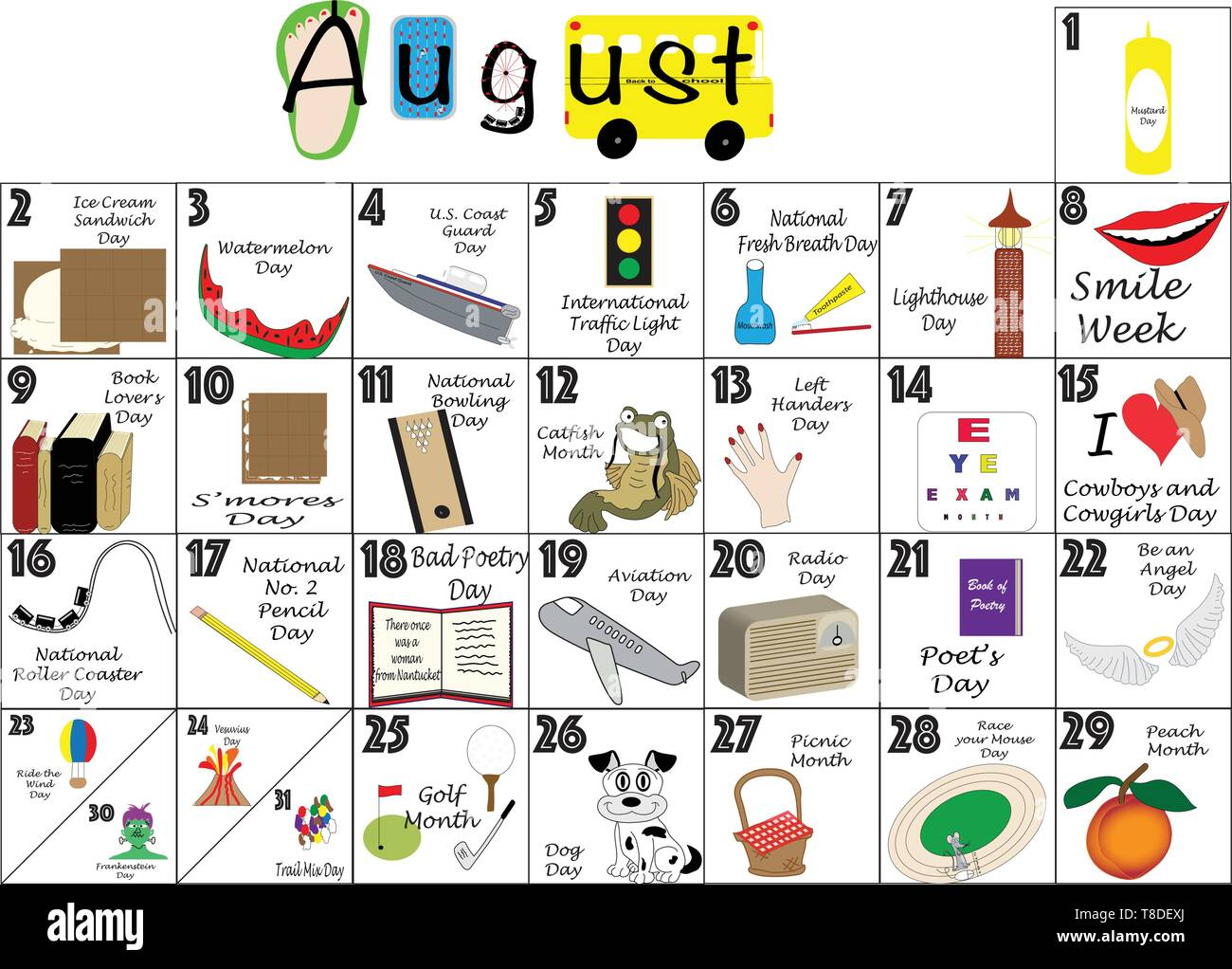 Daily Holiday Calendar 2020 August 2020 calendar illustrated with daily Quirky Holidays and