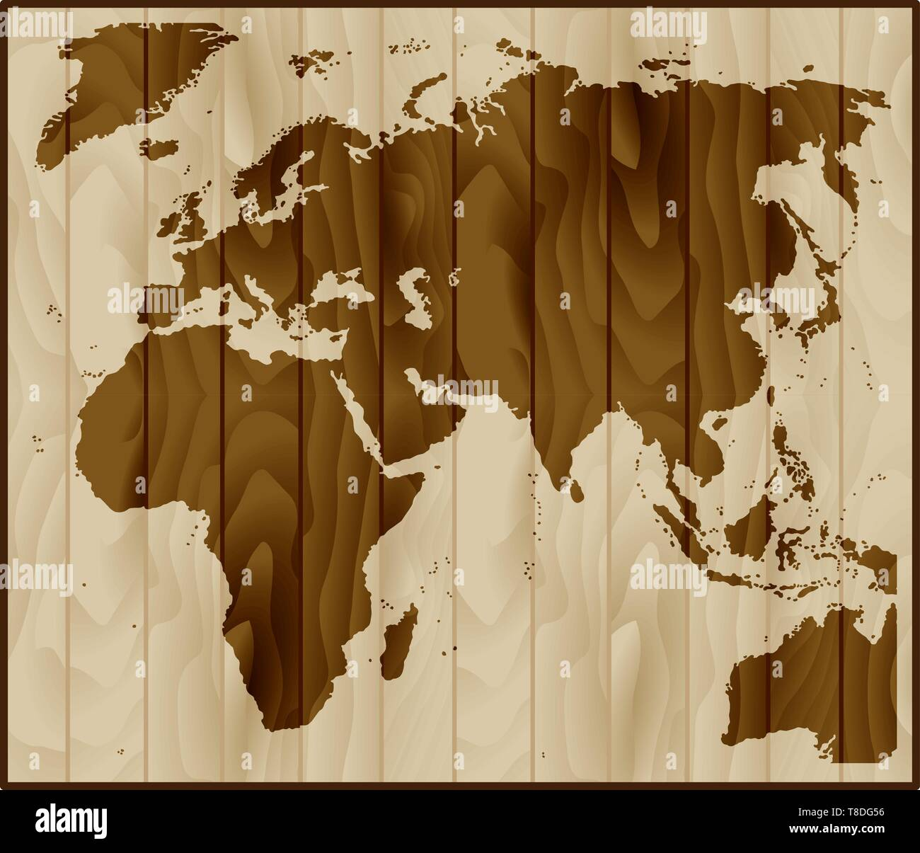Europe, Asia and Africa map on wood background - Stock Image