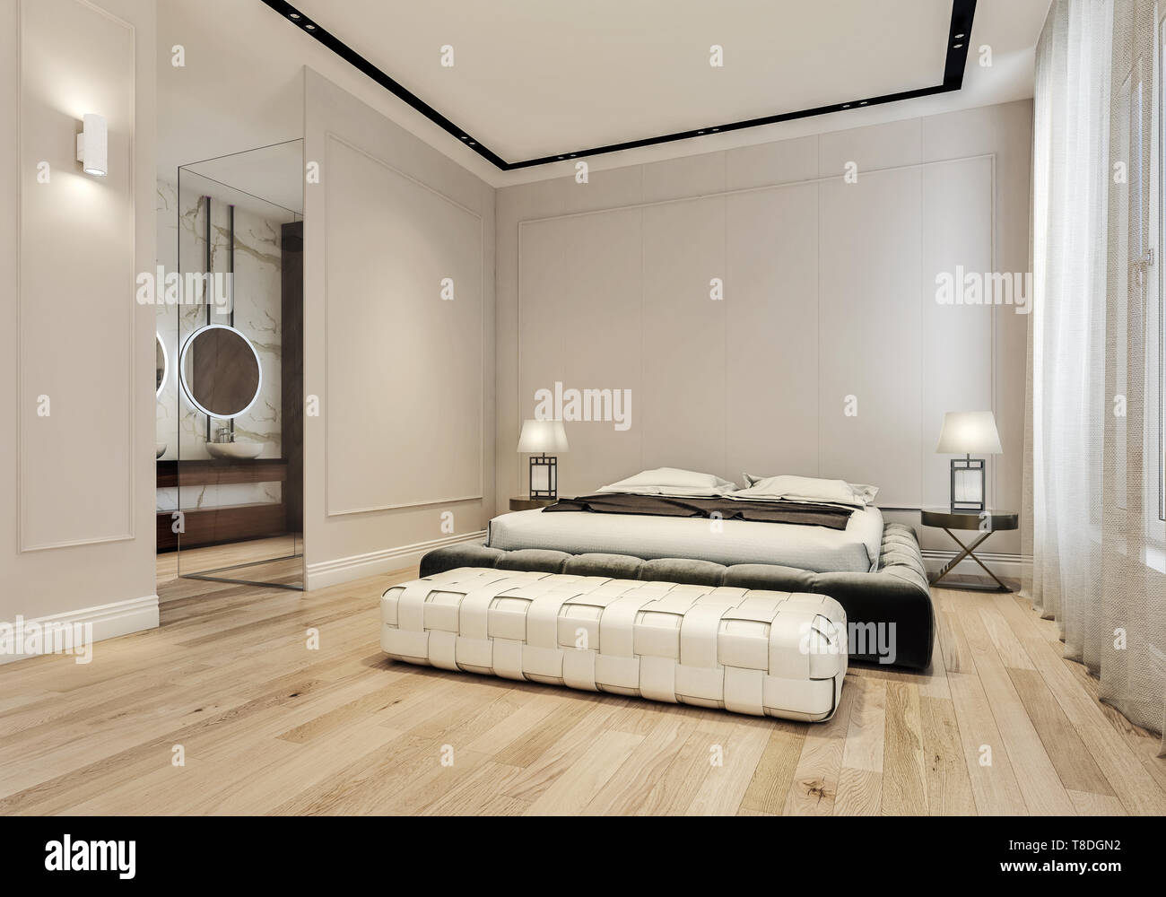 Modern interior design of master bedroom with large bathroom ...