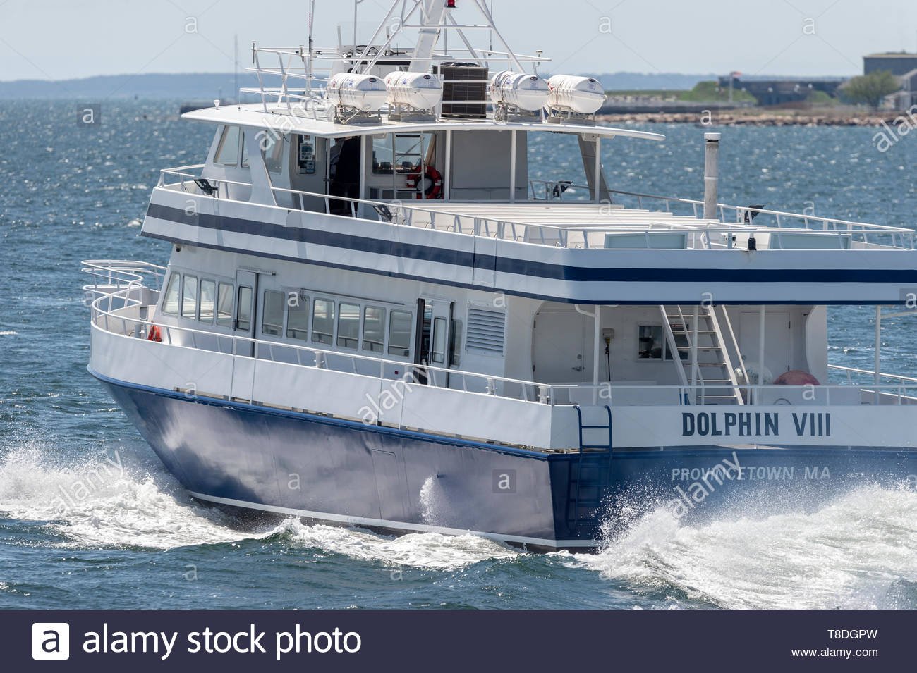 Fairhaven, Massachusetts, USA - May 8, 2019: Whale watching boat Dolphin VIII heading back to home port in Provincetown after a trip to Fairhaven - Stock Image