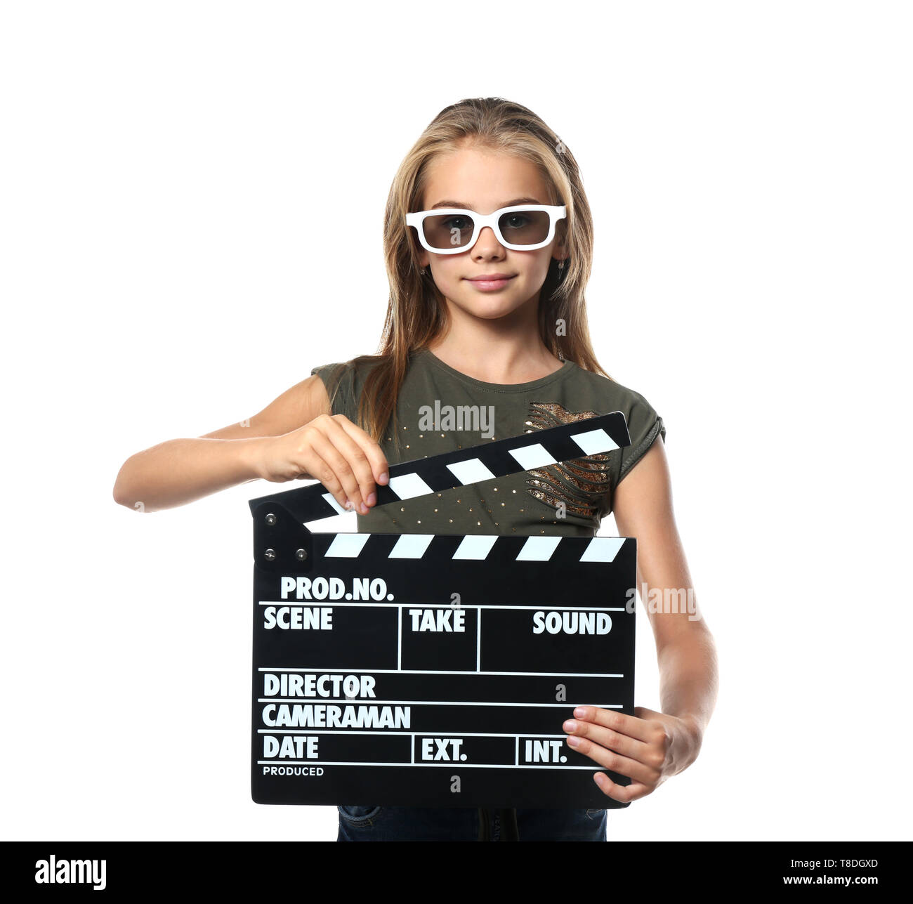 Cute little girl with clapper board wearing 3D cinema glasses on white background Stock Photo