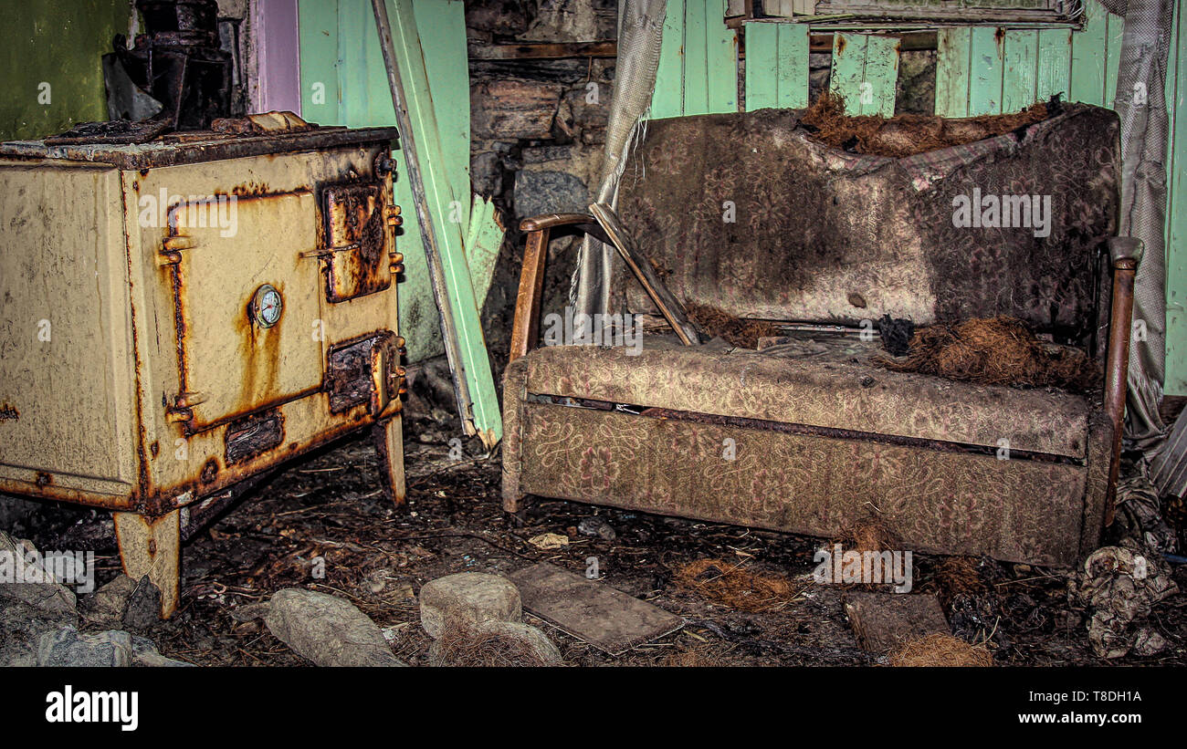 Abandoned Cottage And Furniture - Stock Image