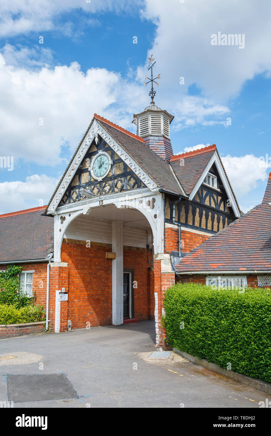 Archway and entrance to Stable Yard at Bletchley Park, once the top-secret home of the World War Two Codebreakers, now a leading heritage attraction - Stock Image