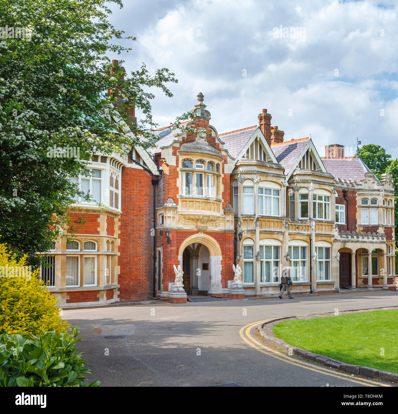 Entrance to the Victorian mansion at Bletchley Park, once the top-secret home of the World War Two Codebreakers, now a leading heritage attraction - Stock Image