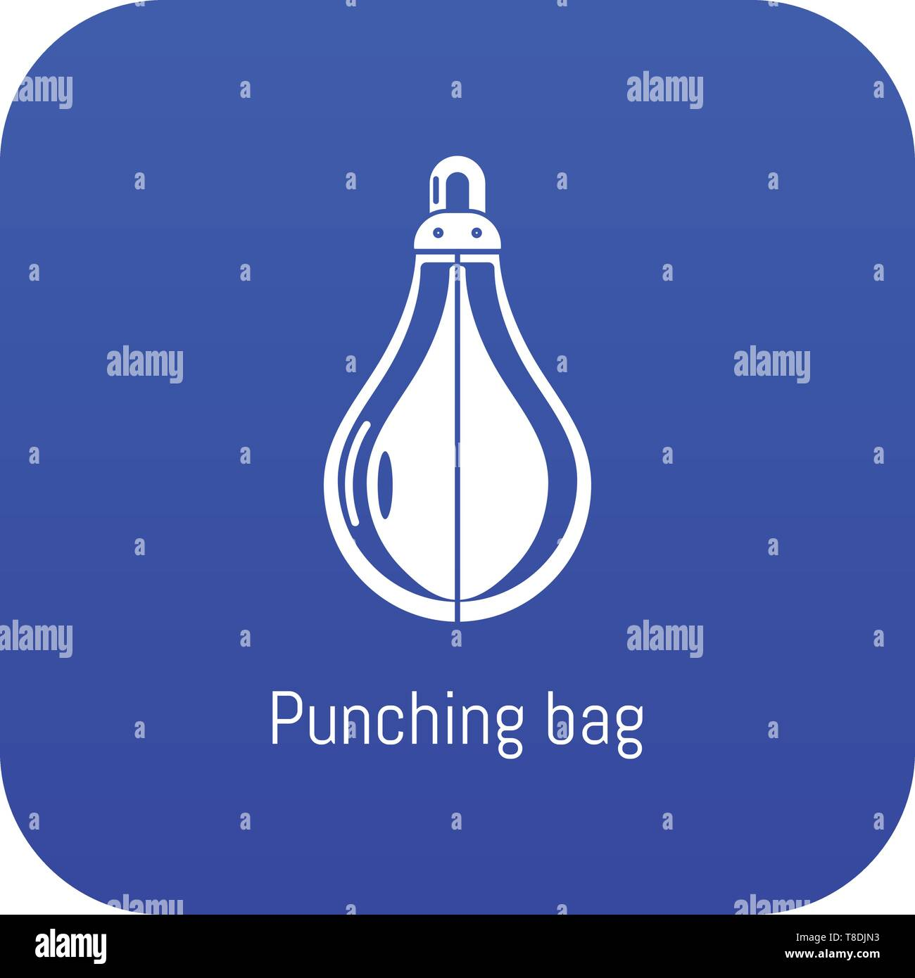 Punching bag icon blue vector - Stock Image