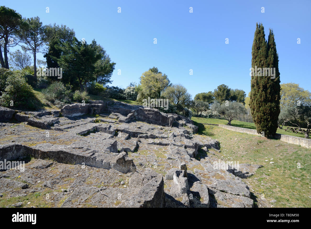 Ancient Roman Stone Quarry or Marble Quarry in the Ancient Roman City or Town of Glanum Saint Rémy-de-Provence Provence France - Stock Image