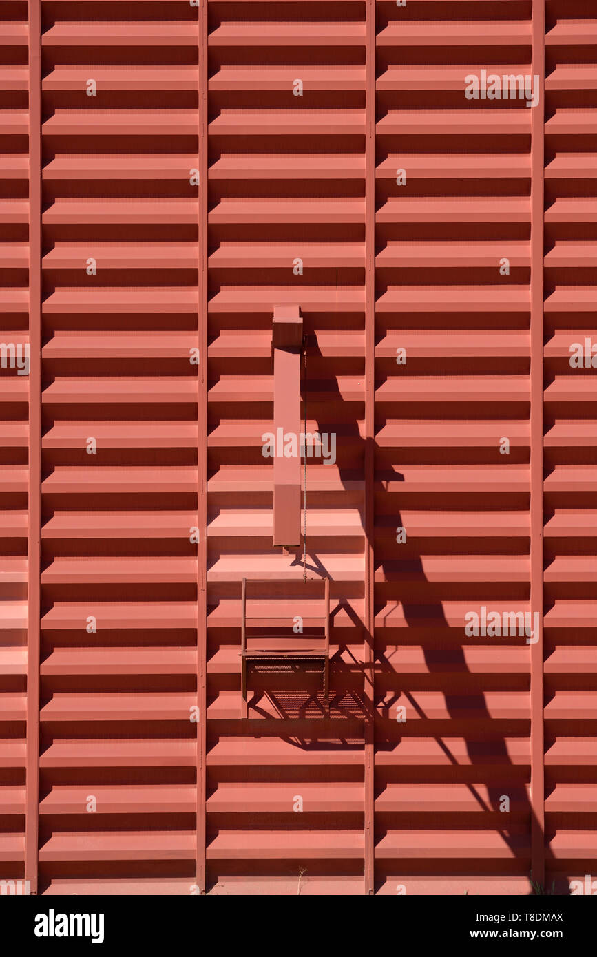 Grain Spouts & Metal Cladding of Grain Silo Agricultural Building or Farm Building Provence France - Stock Image