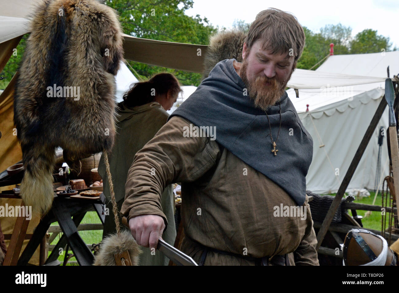 Viking settlement at the Milton Keynes Museum History Festival 2019. Wolverton, Buckinghamshire, England, UK - Stock Image
