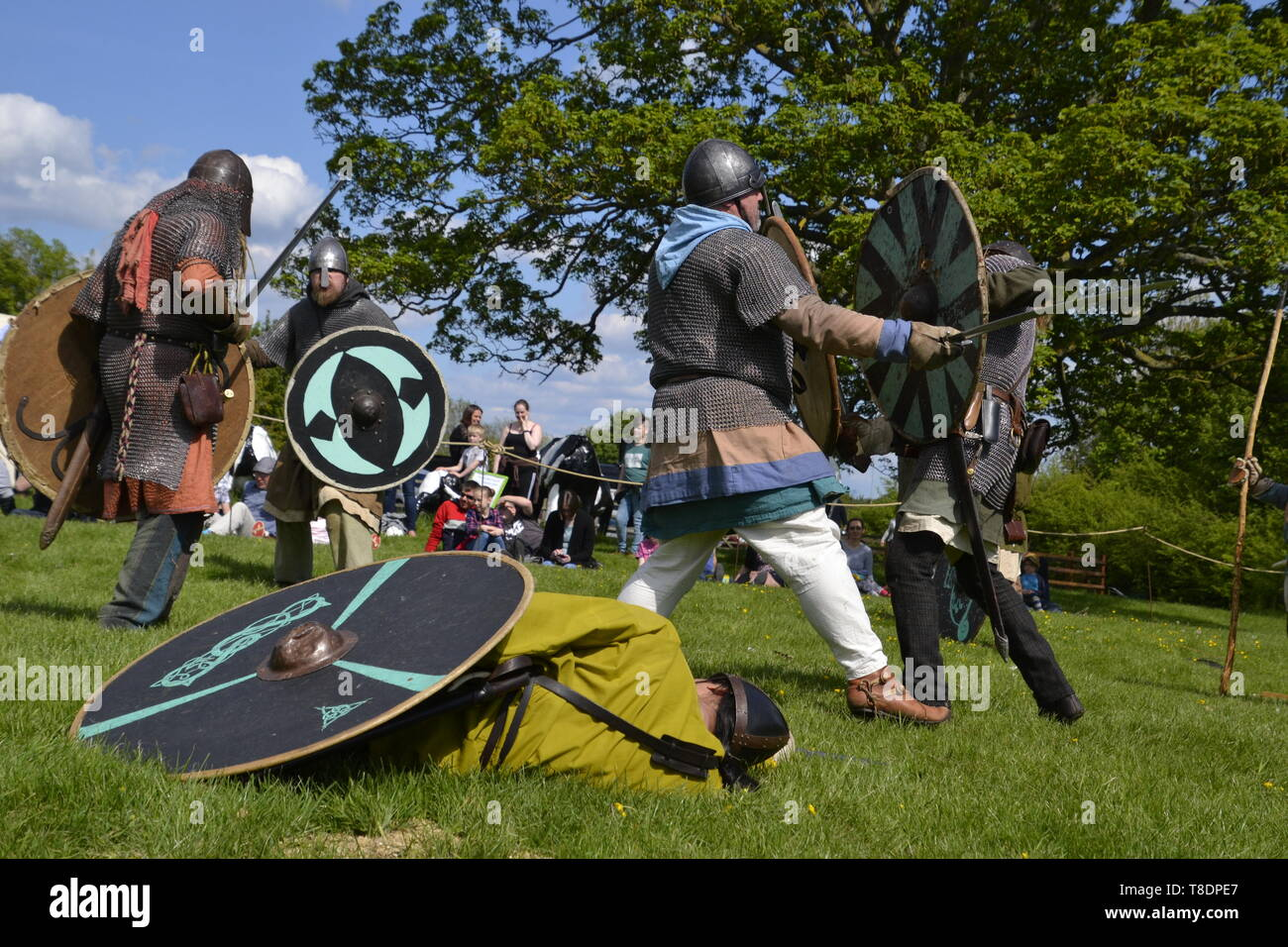 Viking Battle Reenactment at Milton Keynes Museum History Festival 2019. Wolverton, Buckinghamshire, England, UK - Stock Image