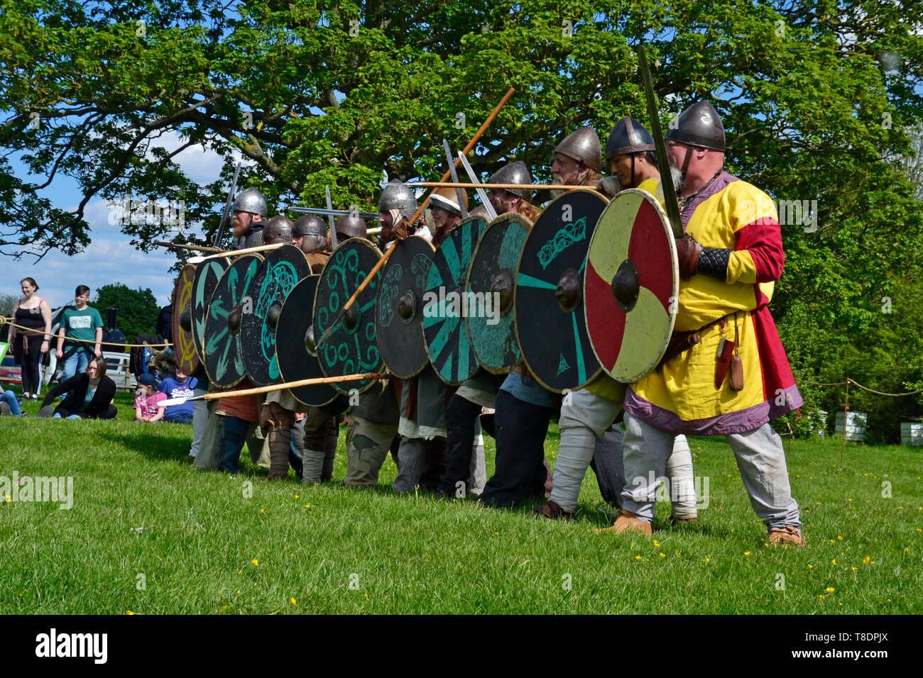 Viking Battle Reenactment at Milton Keynes Museum History Festival 2019. Wolverton, Buckinghamshire, England, UK - Stock Image