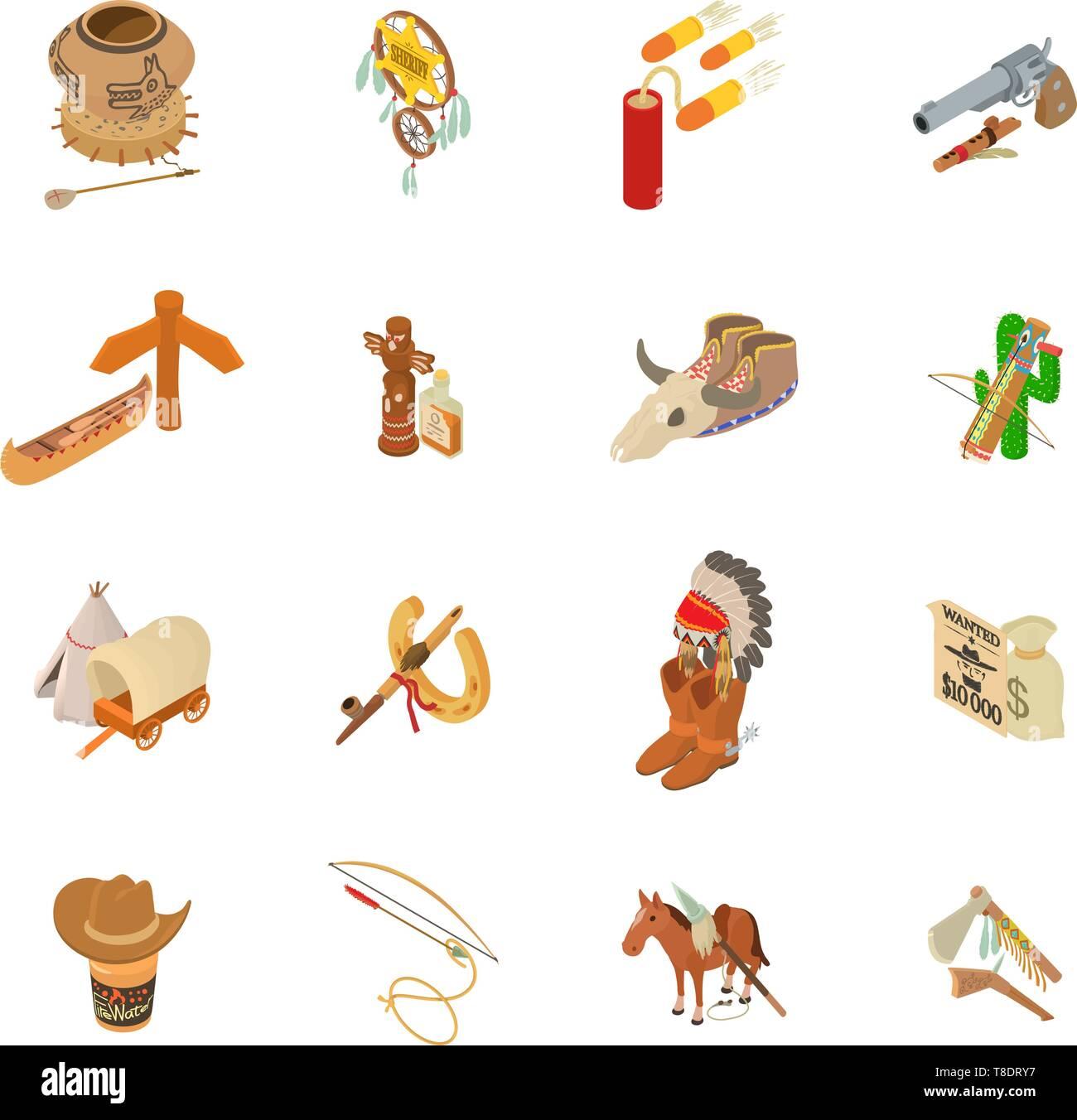 Injun icons set, isometric style - Stock Image