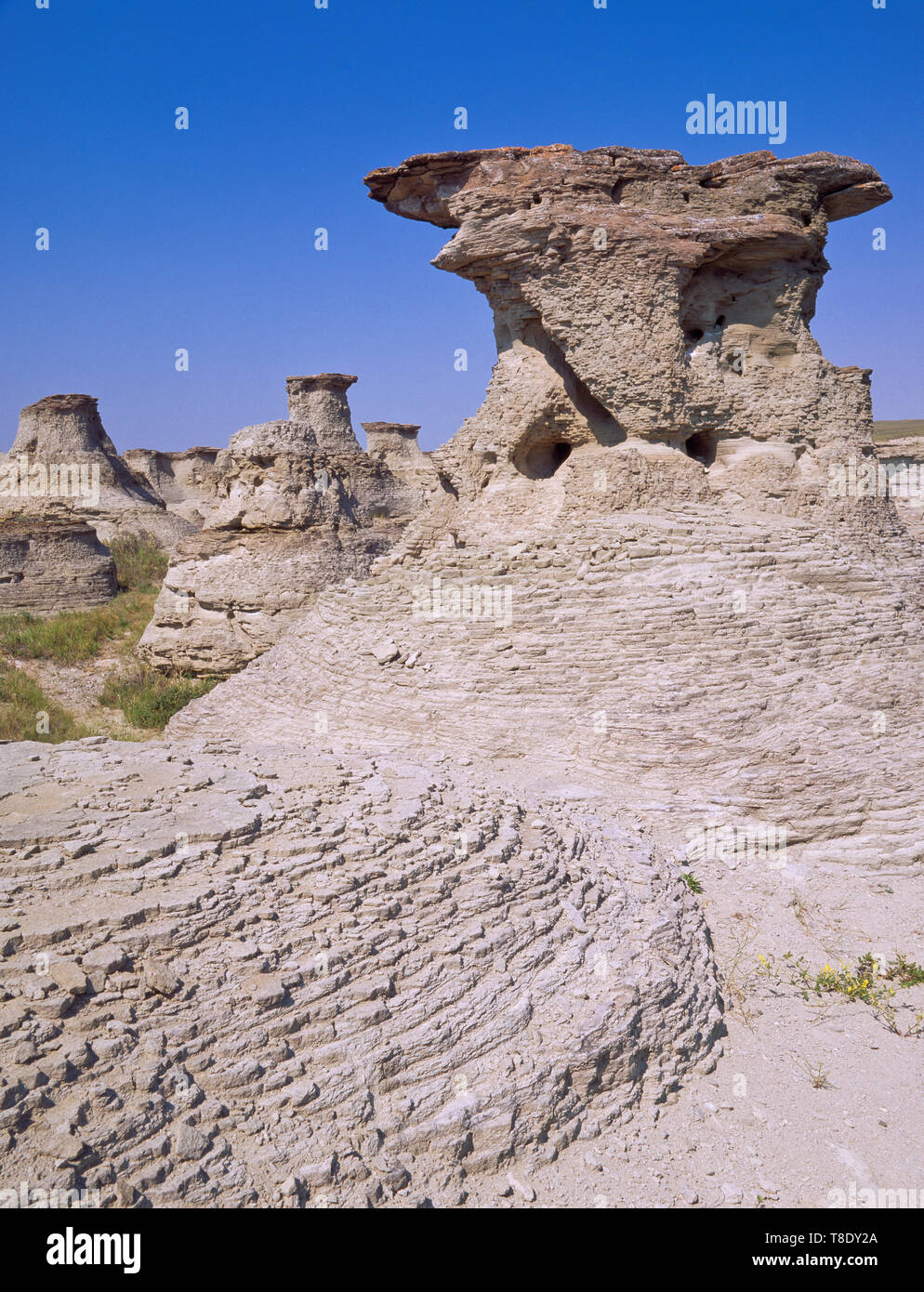 sandstone hoodoos at an area locally known as rock city near valier, montana - Stock Image