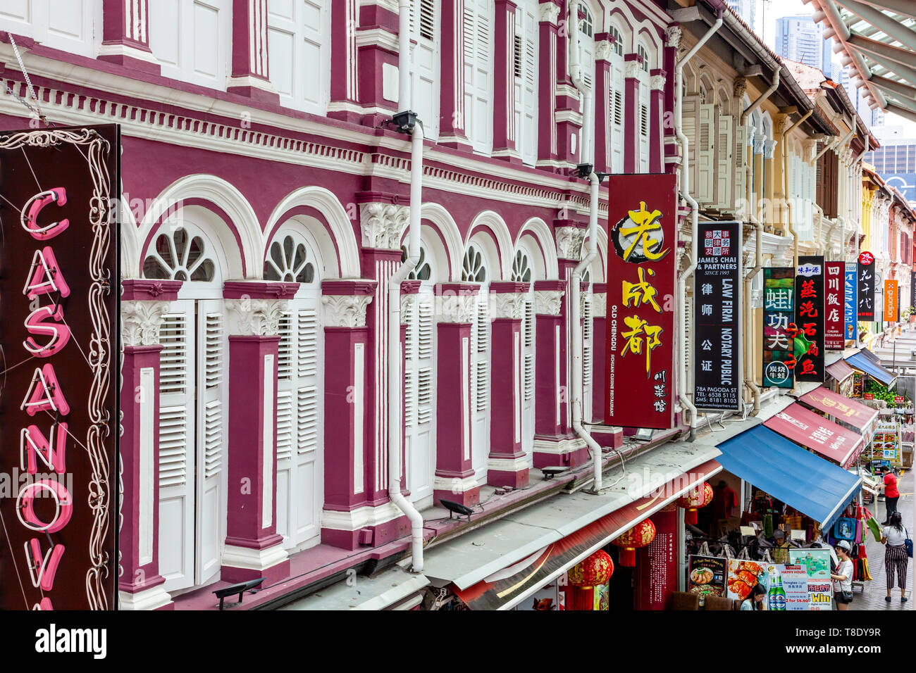 Colourful Buildings, Chinatown, Singapore, South East Asia - Stock Image