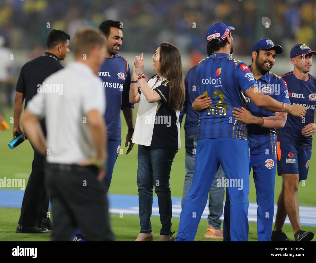 Hyderabad, India, 12th May 2019: IPL 2019 Final Match  : MI owner Nita Ambani along with Team Mates Celebrates the victory   during  Final  Match of I - Stock Image