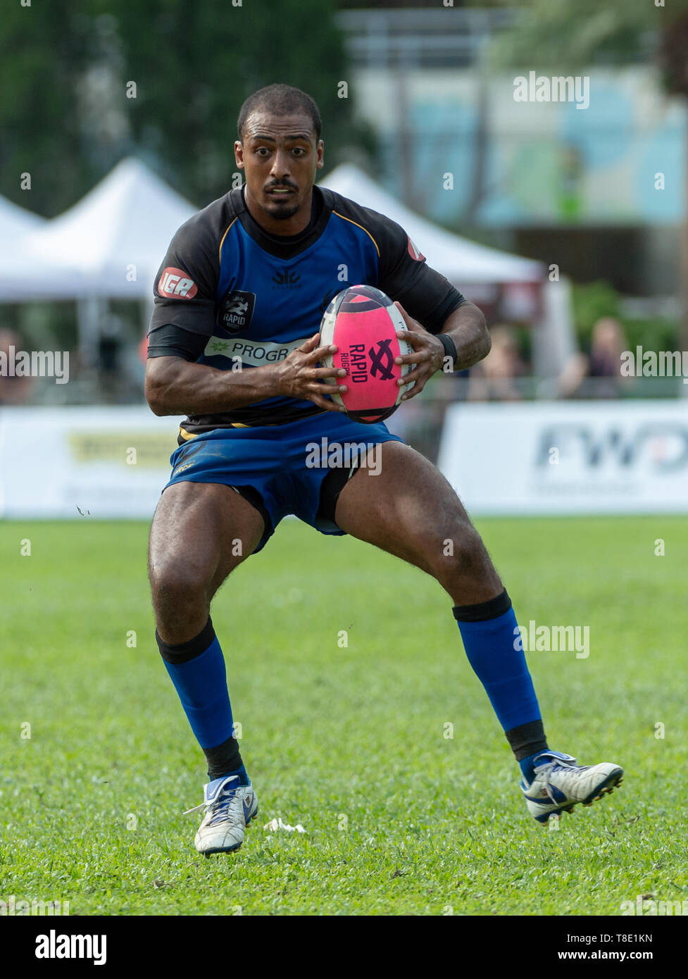 Hong Kong, China. 12th May, 2019. Marcel BRACHE (Captain) runs with the ball.Western Force vs South China Tigers Global Rapid Rugby. The Western Force make their inaugural appearance in Hong Kong facing off against the FWD South China Tigers in the finale of the Global Rapid Rugby Asian Showcase Series Credit: Jayne Russell/ZUMA Wire/Alamy Live News Stock Photo