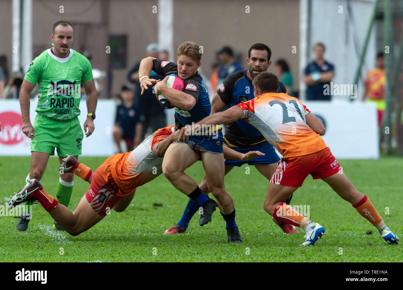 Hong Kong, China. 12th May, 2019. Western Force's Angus TAYLOR is tackled.Western Force vs South China Tigers Global Rapid Rugby. The Western Force make their inaugural appearance in Hong Kong facing off against the FWD South China Tigers in the finale of the Global Rapid Rugby Asian Showcase Series Credit: Jayne Russell/ZUMA Wire/Alamy Live News Stock Photo