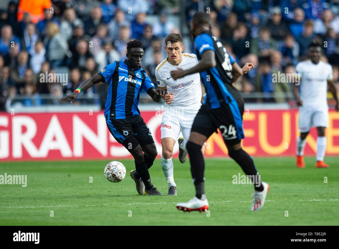 Brugge Belgium May 12 Krepin Diatta Of Club Brugge And Joakim Maehle Of Genk Fight For The Ball During The Jupiler Pro League Play Off 1 Match Day 8 Between Club Brugge