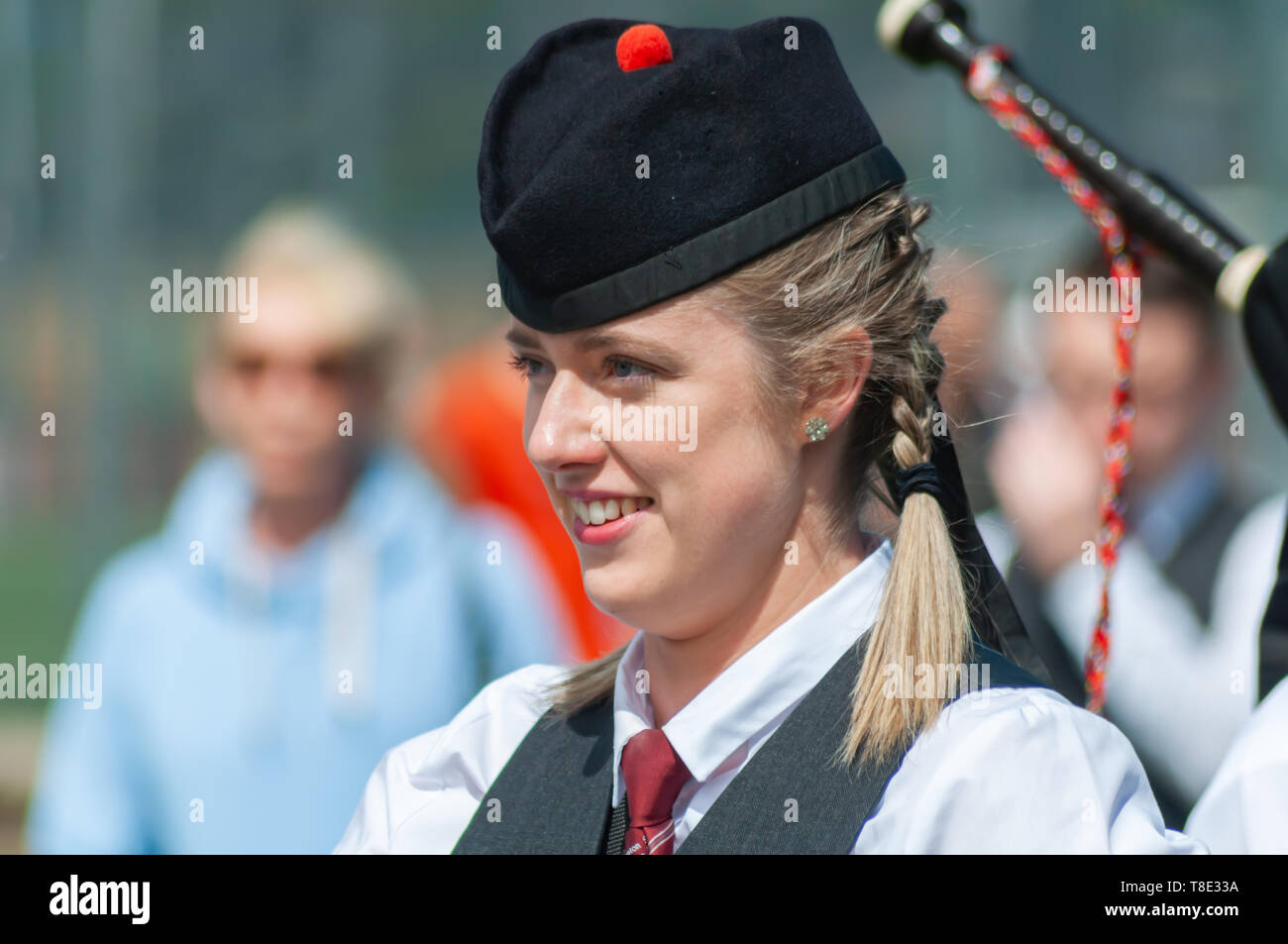 Gourock, Scotland, UK. 12th May, 2019. A pipe band member during the 63rd annual Gourock Highland Games which celebrates traditional Scottish culture with pipe band competitions, highland dancing, traditional highland games and is held in the picturesque setting of Battery Park.  Credit: Skully/Alamy Live News - Stock Image
