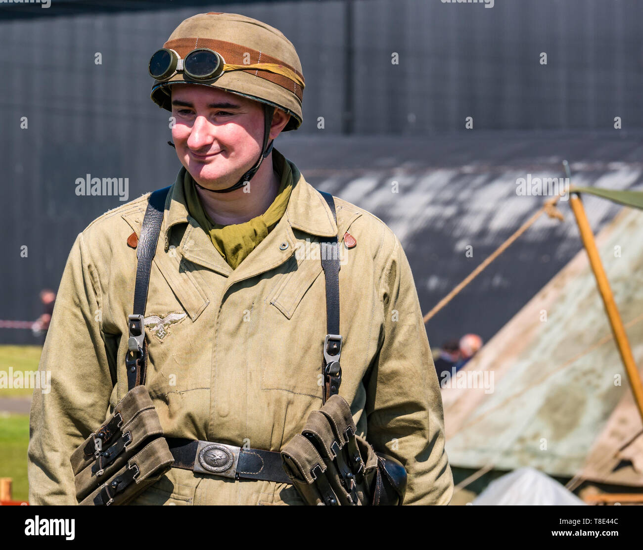 Museum of Flight, East Fortune, East Lothian, Scotland, UK 12th May, 2019. Wartime Experience: A family day out with all things related to the World Wars including a replica of a second world war German army  camp and military equipment - Stock Image