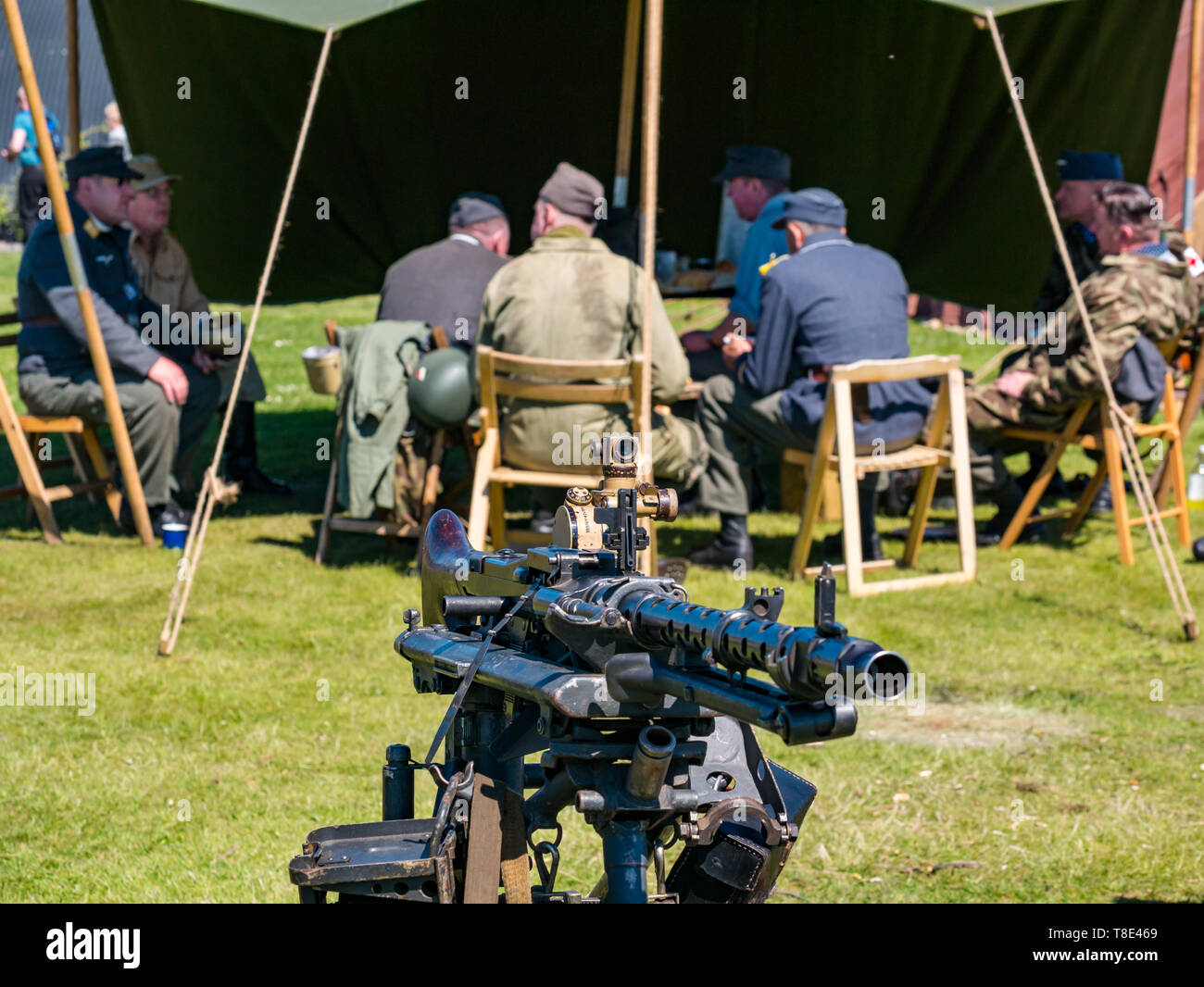 Museum of Flight, East Fortune, East Lothian, Scotland, UK 12th May, 2019. Wartime Experience: A family day out with all things related to the World Wars including a replica of a second world war German army  camp and military equipment with a machine gun - Stock Image