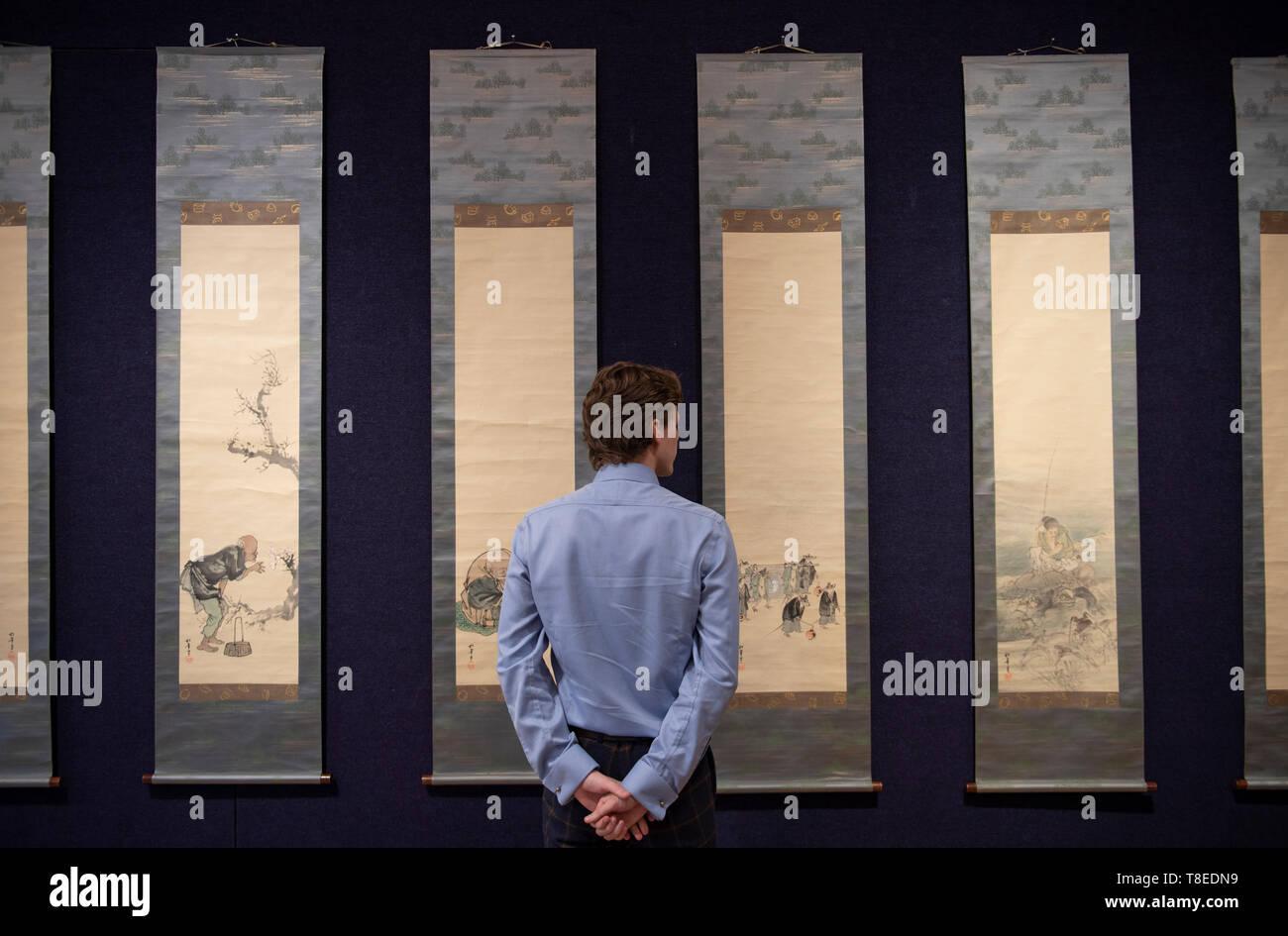 Bonhams, New Bond Street, London, UK. 13th May 2019. Suzuki Shonen (1849-1918). Meji or Taisho era, early 20th century set of 12 kakejiku (vertical hanging scrolls) carries an estimate of £5,000-8,000 at Bonhams Fine Japanese Art sale, taking place on 16th May 2019. Credit: Malcolm Park/Alamy Live News. - Stock Image