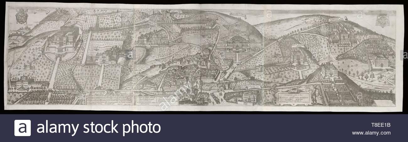 Greuter, Mathieu, 1564-1638, printmaker.-E fatta celebre la citt de Frascati della vaghezza delle sue ville suburbane..., 1620 - Stock Image