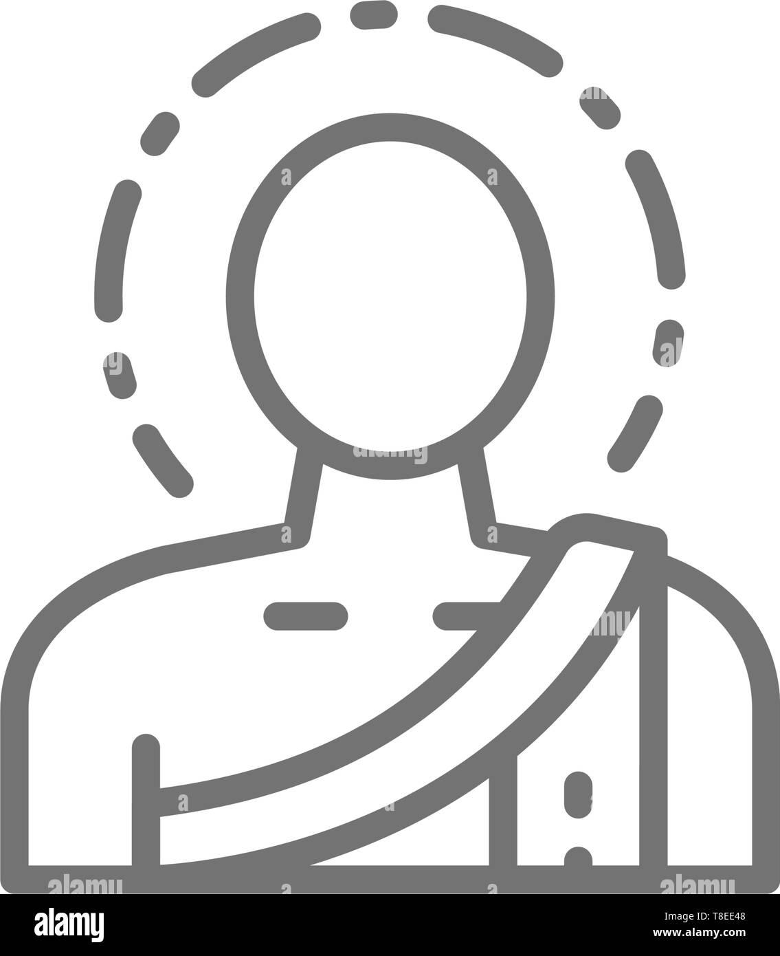 Buddha, buddhist monk line icon. Isolated on white background - Stock Vector