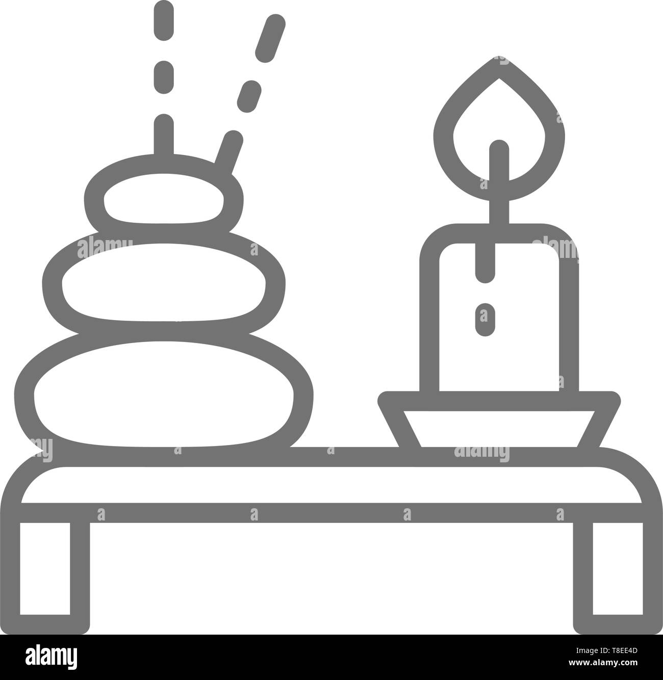 Spa, Thai hot stone with candle line icon. - Stock Vector