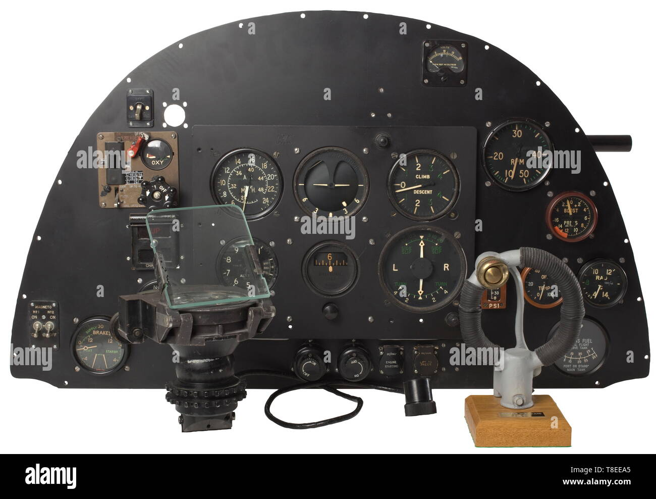 an instrument panel from the fighter plane supermarine 'spitfire - mk ii' a  true