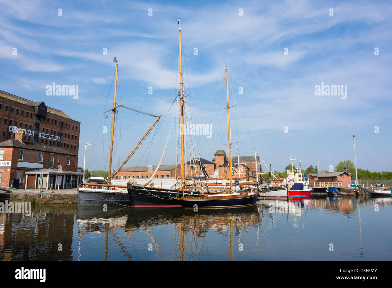 Sailing ships moored at Gloucester docks Gloucestershire England UK. April 2019 - Stock Image