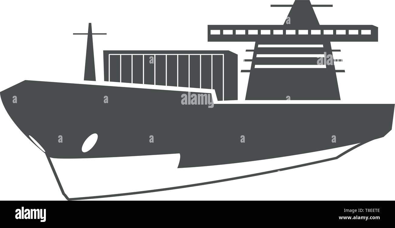 Cargo ship, ocean delivery, sea transport symbol. - Stock Vector