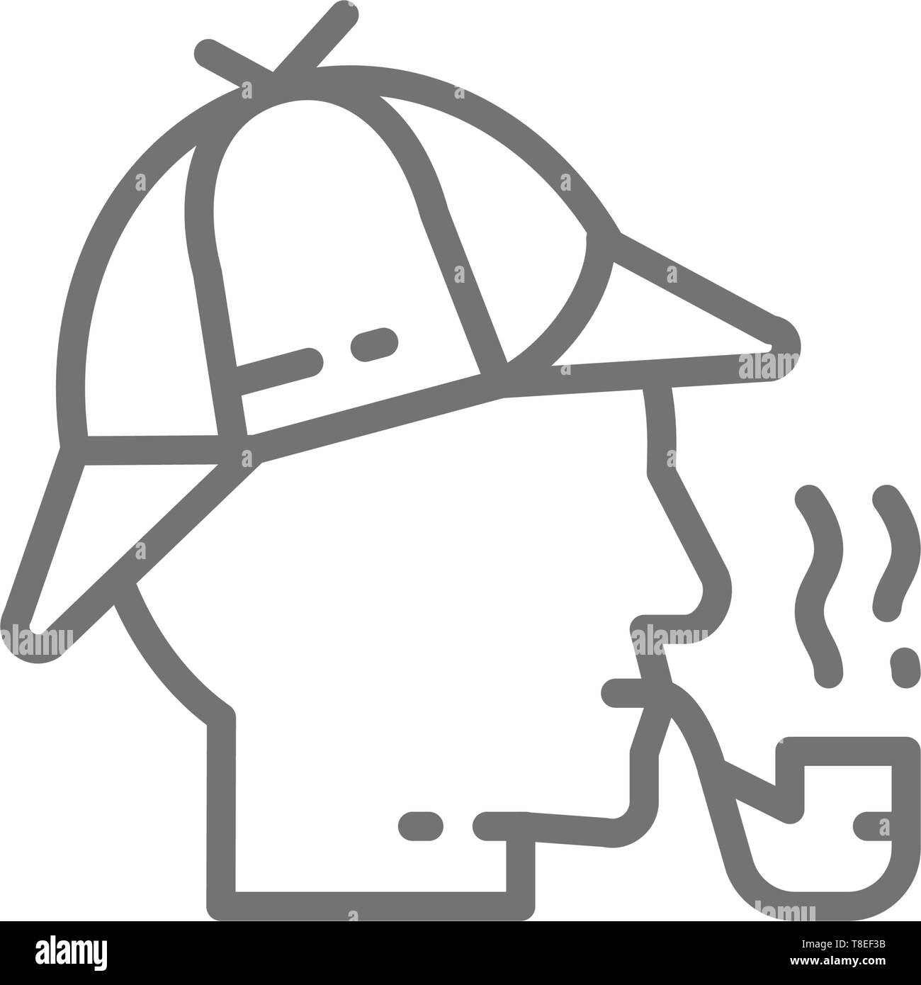 0828bfdc8 Detective, Sherlock Holmes with smoking pipe line icon Stock Vector ...